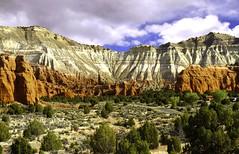 Koda (paynepat44) Tags: utah redrock clouds cliffs red white green colorful landscape trees grass cactus sky morning desert desertpeaks canyon kodachrome statepark