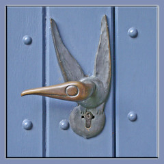 A new Species - the knob bird (mhobl) Tags: door doorknob aachen latch bronce plastiken trgriff bluegermany