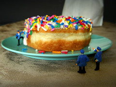 Pigging Out (JD Hancock) Tags: scale fun miniature cops little small perspective police cc tiny donut figure ho 1k hoscale thesecretlifeoftoys nogeo littledudes inkitchen jdhancock