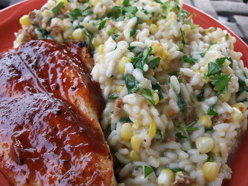 BBQ Chicken Breast and Risotto with Corn, Spicy Sausage and Wilted Arugula