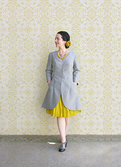 Great Gray Gracious Jacket :) (Elsita (Elsa Mora)) Tags: portrait selfportrait flower smile yellow hair happy necklace shoes neon artist pin gray remix seed skirt hidden jacket wardrobe elsa mora elsita oxfords