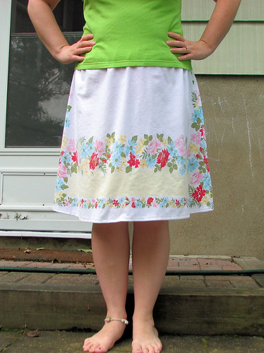 New skirt from vintage tablecloth