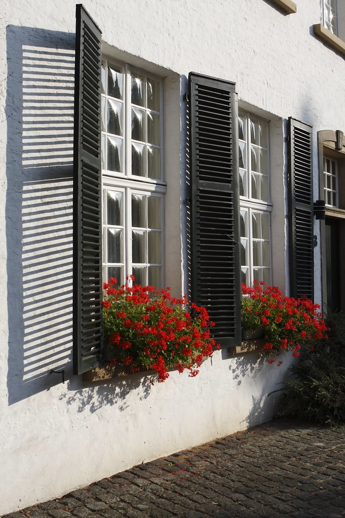 WIndows , Shades and flowers Xanten wakes up in the sun