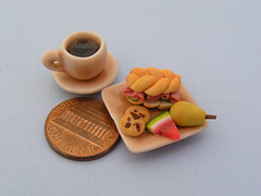 Sunday Brunch (Shay Aaron) Tags: food house scale kitchen coffee fruit breakfast dessert miniature doll handmade beef aaron fake mini sandwich meat watermelon polymerclay fimo tiny pear brunch faux shay 12th 112 dollhouse petit lunchbreak twelfth chocolatechipscookie                    shayaaron