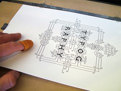 Retrieving the printed sheet from the press (typoretum) Tags: ilt ilovetypography ilovetypographycom gietz type:typeface=restraint