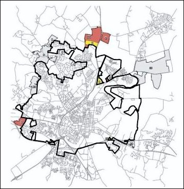 map of Frederick, MD showing existing city limits and pending annexations