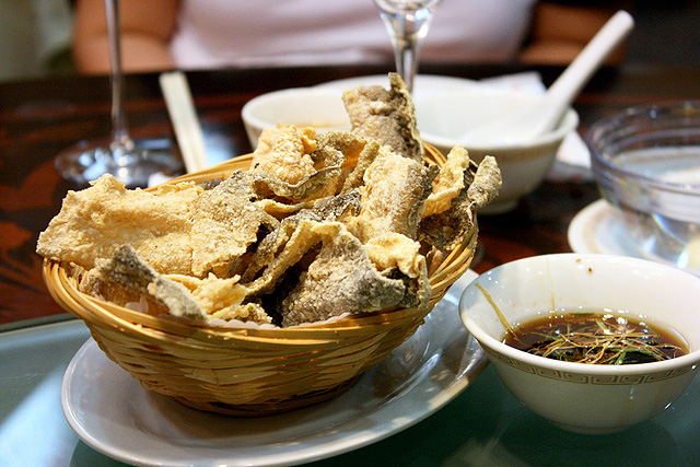 Fried eel skin with soy dip