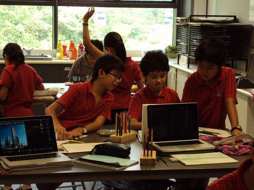 Students in Hong Kong working at Discovery College