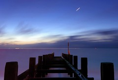 The planet Venus traversing the morning sky [Explored] (ryme-intrinseca) Tags: venus planet light trail long exposure water flat calm sunrise sunset hopton sea norfolk england suffolk corton lowestoft great yarmouth gorleston haven beach seascape coast coastline sand star peaceful serene tranquil dawn early deserted alone groyne sky beautiful astronomy