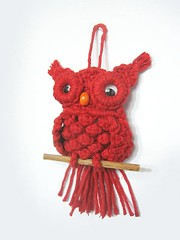 red macrame owl (ccyytt) Tags: red thread cotton owl macrame