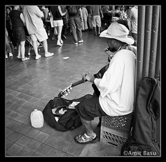 The Bluesman (Amit Basu) Tags: musician white black blues harmonica bluesman gutarist