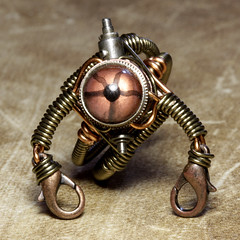 Steampunk Jewellery Robot Ring (Catherinette Rings Steampunk) Tags: sculpture canada eye glass metal robot wire eyes punk artist quebec designer handmade reptile montreal daniel jewelry steam ring taxidermy lizard jewellery copper etsy artisan steampunk reptilian proulx catherinetterings