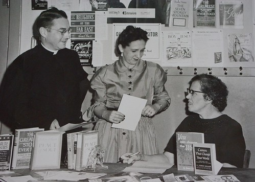 Helen Leckrone and Father Donahue in the 1950s