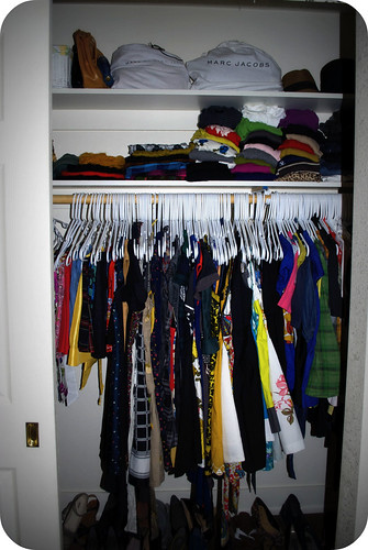 half of the bedroom closet