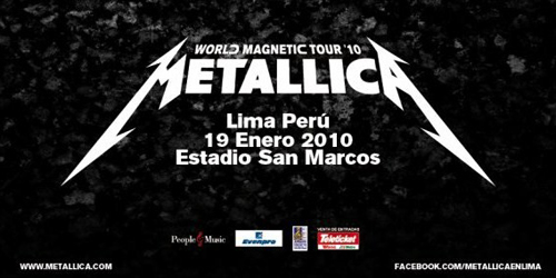Afiche Metallica en Lima Peru Concierto Precios Entradas Informacion Teleticket