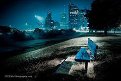 NUMBER ONE BENCH IN HOUSTON (ANVAR - RUSSIANTEXAN ) Tags: longexposure night bench interestingness nikon downtown texas houston surreal explore russiantexan mistique explored d700 explorefp anvarkhodzhaev svetanphotography explorednov2920095 explorefrontpage29nov2009