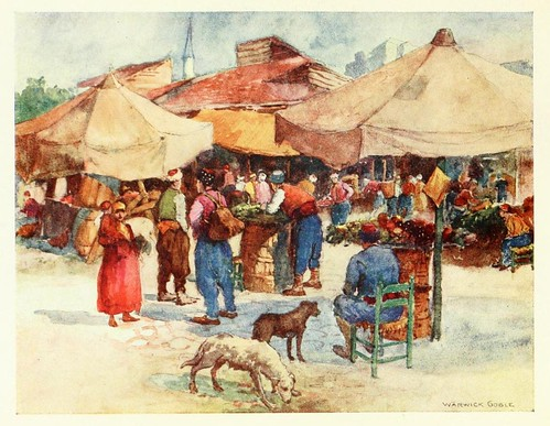 014- Mercado en Scutari- Constantinople painted by Warwick Goble (1906)