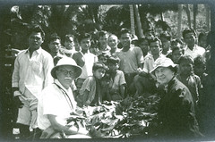 David Fairchild and Anne Archbold with villagers on Maripipi Island