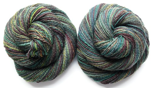 3.5oz Jacobs Humbug, navajo plied, 2 skeins ~372yds-1