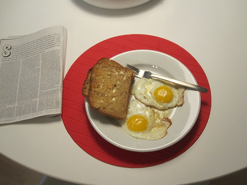 Eggs and toasts at home