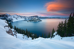 Crater Lake (Sheldon Nalos) Tags: sunset snow ice water beautiful clouds oregon landscape snowshoe frozen wizardisland craterlakenationalpark canon1dsmarkiii sheldonnalos mountmtmazama