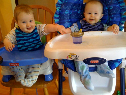Weston and Brennan try out their new Bibs!