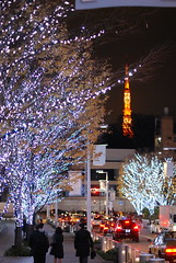 christmas lights in Tokyo (micamica) Tags: christmas blue white lights tokyo decoration roppongi holidayseason