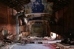 Palace Theatre Auditorium, Gary Indiana (stormdog42) Tags: abandoned architecture theatre interior balcony stage urbandecay ruin indiana gary atmospheric auditorium 1925 palacetheatre urbex moviepalace johneberson darktheatre