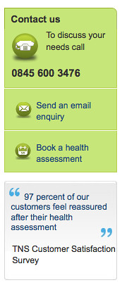BUPA's Call to action is clear and concise