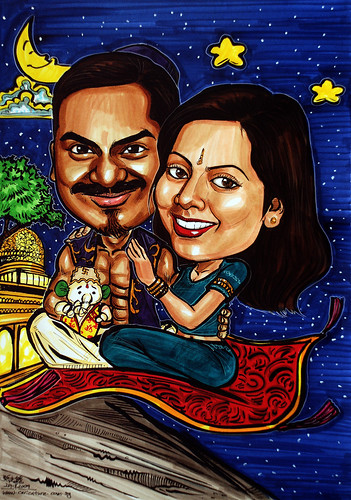 Indian wedding couple caricatures on flying carpet