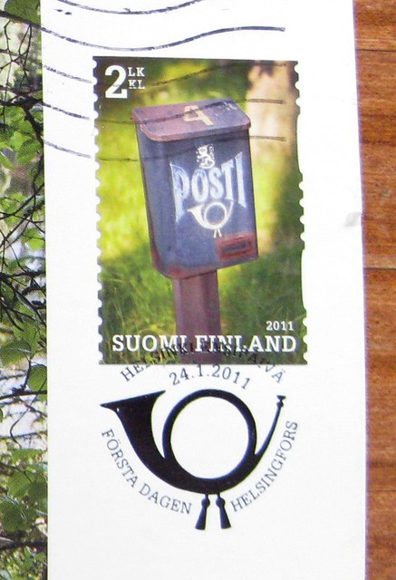 Finland postbox postcard stamp
