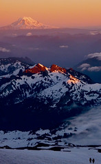 Descending in to the clouds (dkokoszka) Tags: sunset red camp sky snow evening mt panasonic rainier muir ts1