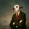 The patient man - l'homme patient (Martine Roch) Tags: portrait dog man art funny character surreal photomontage surrealist homme dalmatien caractère martineroch flypapertextures damaltian