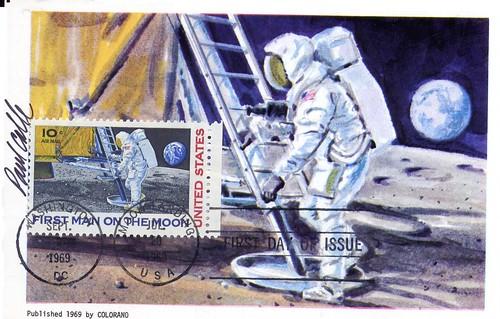1969 (09-09 APOLLO 11 FDC Timbre Carte Colorano 1 signée Calle)