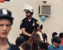KPD MOUNTED IN 1989 (richie 59) Tags: city horses urban usa man film hat america 35mm outside us unitedstates helmet broadway hats police kingston 35mmfilm mounted newyorkstate 1989 1980s oldpicture policeman mountedpolice nystate hudsonvalley citystreet kingstonny kpd ulstercounty mountedpatrol midhudsonvalley americancity ulstercountyny kingstonpolice picturescan richie59 aug191989 aug1989 midtownkingston old35mmpictures