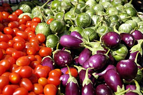 Local Organic Tomatoes, Eggplant