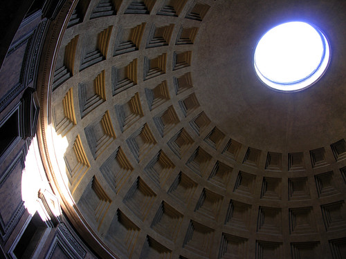 Beam of light from the oculus of the Pantheon