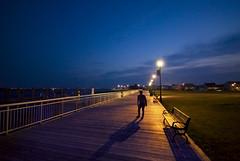 Alone At Night (RLJ Photography NYC) Tags: light shadow woman beach girl night bench walking big alone sigma boardwalk colorphotoaward thepinnaclehof tphofweek29