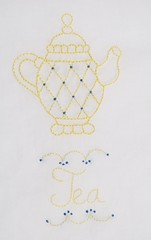 yellow teapot tea towel (Kimberly Ouimet) Tags: blue yellow pattern hand tea embroidery diamond stitching teapot bigb teatowel