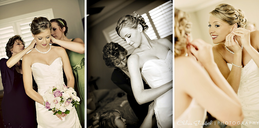 Bride getting ready and putting dress on Lakewood wedding photographer