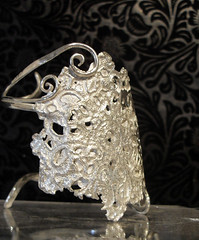 Lace Cuff (side) (Christy-Anne) Tags: designer jewellery cuff whitelace silverlace christyanne jewellerycontemporary jewelleryfeminine