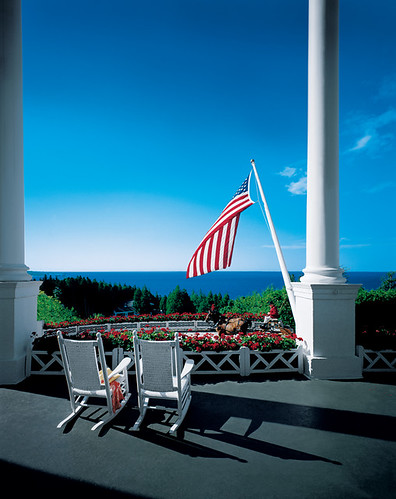 View of the Straits of Mackinac by Grand Hotel - Mackinac Island.