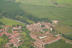 Cascina Sforzesca (_ Night Flier _) Tags: above travel sky italy panorama orange green rooftop nature airplane landscape flying high view earth top farm aviation aerial fromabove agriculture lombardia cessna skyview vigevano lombardy pavia birdeye aeronautic cascinasforzesca