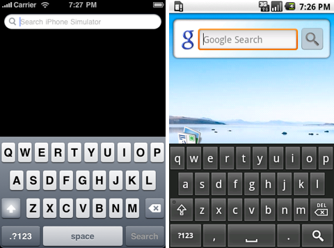 teclado android versus iphone