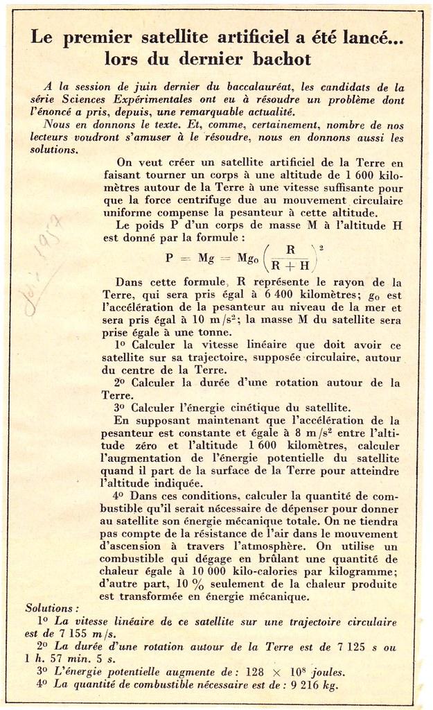 EPREUVE DU BACCALAUREAT DE JUIN 1957