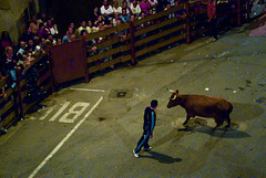 (badger dave) Tags: spain shadows fiestas espana barriers crowds bullrun navarra standoff torero encierro funes 7264 nightrun