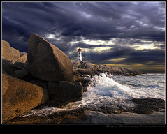Rays on Peggy for Ray (Dave the Haligonian) Tags: ocean sea sun lighthouse canada storm clouds coast rocks novascotia lol atlantic shore maritime granite rays peggyscove beams crepuscularrays yadayada lobsterbisque copyrightallrightsreserved dsc0780 davidsaunders photoshopmasterpiece davethehaligonian raysonpeggyforray