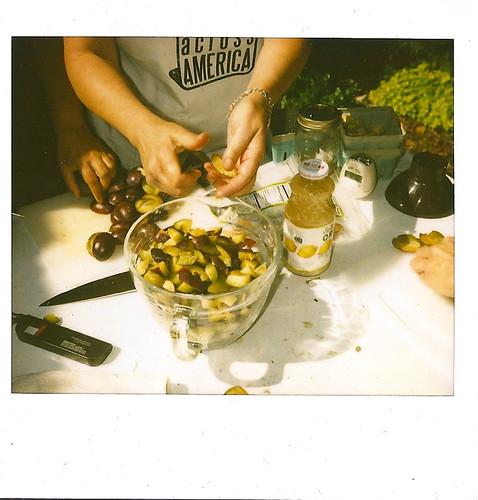 Kim cutting plums for jam