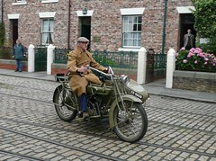 Roughing It on the Cobbles (Terry Pinnegar Photography) Tags: museum beamish cycle motorcycle cobbles edwardian combination matchless countydurham