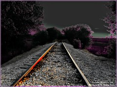 Empty - (www.fine-art-expressions.com) (Butterfly724) Tags: railroad pink trees nature field digital train landscape interesting rocks poetry artistic stones gray traintracks inverted enhanced pictureperfect blueribbonwinner fineartphotos mywinners abigfave platinumphoto anawesomeshot citrit theunforgettablepictures colorartaward cherryontopphotography wwwfineartexpressionscom barbraaborden artistictraintracks
